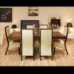 View Item Large Tobacco Walnut Dining Table and 6 High Back Ivory Leather Chairs