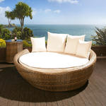 View Item Luxury Round Garden Day Bed / Sofa Brown Rattan /Beige Cushions, Cover
