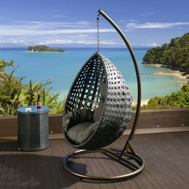 Luxury outdoor garden hanging chair black rattan grey cushion xl ebay