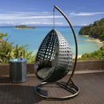 View Item Luxury Outdoor Garden Hanging Chair Black Rattan Grey Cushion XL 