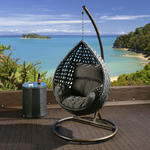 View Item Luxury Outdoor Garden Hanging Chair Black Rattan Grey Cushion &amp; Cover 