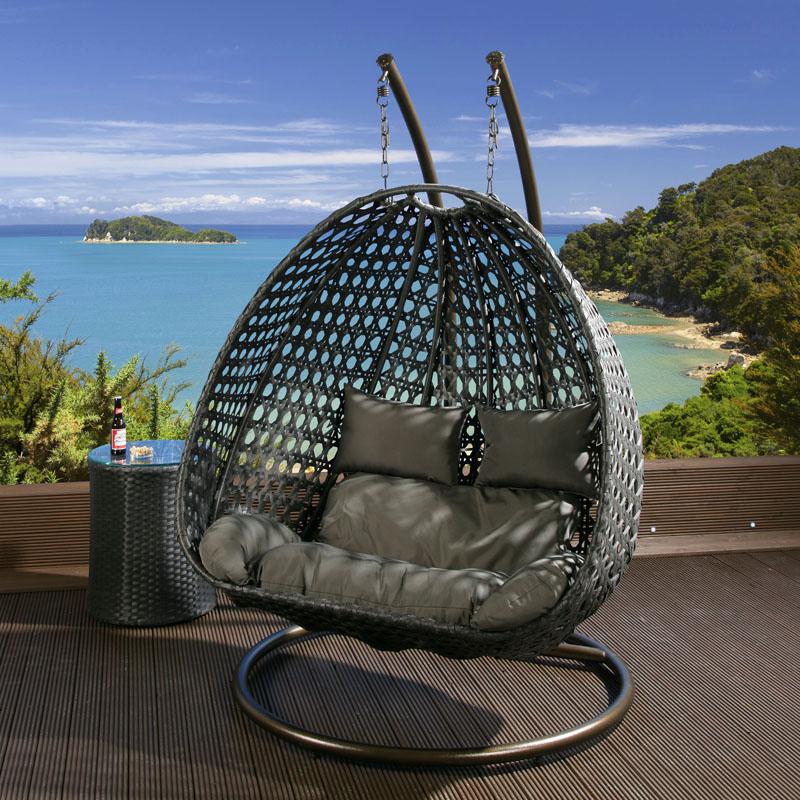 2 Seater Garden Hanging Chair Black Rattan Grey Cushion