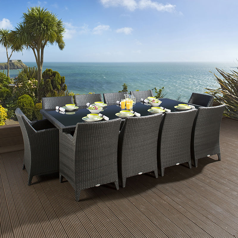 rattan wicker dining set table 10 chairs garden black grey ebay