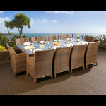 View Item Massive Rattan/Wicker Dining Set Table + 10 Chairs Garden Brown/Cream