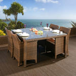 View Item Rattan Garden Dining Set Square Table + 4 Large Carver Chairs Brown