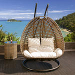 View Item 2 Seater Garden Hanging Chair/Sofa Brown Rattan Cream Cushion/Headrest