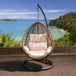 View Item Luxury Garden Hanging Chair Brown Mix Rattan Cream Cushion, Cover XL