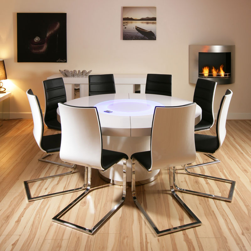 Large round white gloss dining table amp 8 white black dining chairs