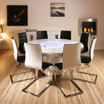 View Item Large Round White Gloss Dining Table & 8 White / Black Dining Chairs