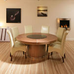 View Item Large Round Walnut Dining Table with 6 High Back Ivory Leather Chairs