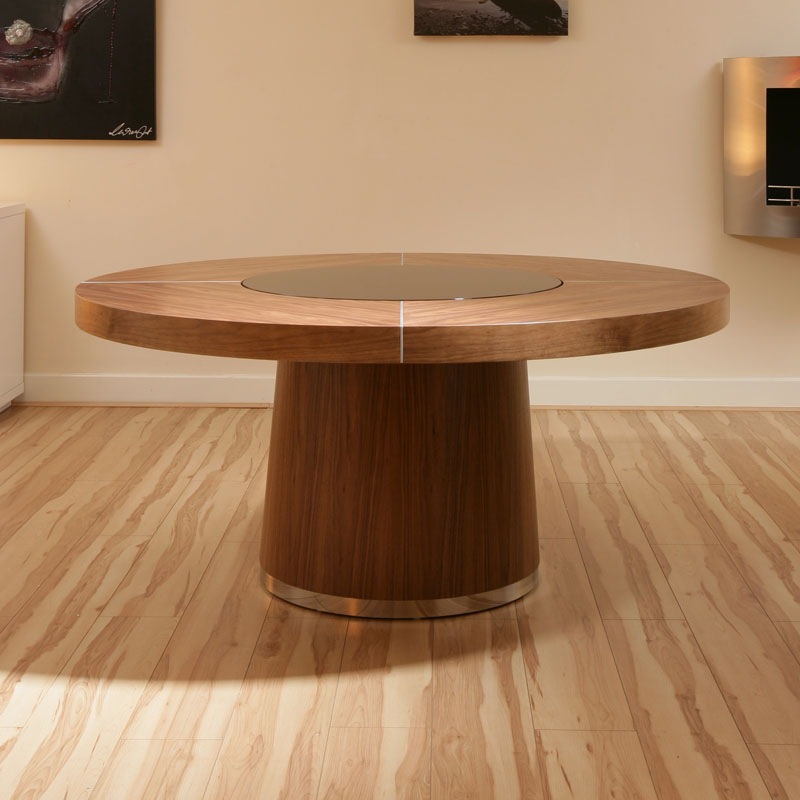 Large Glass Dining Room Table: Large Round Walnut Dining Table, Black Glass Lazy Susan