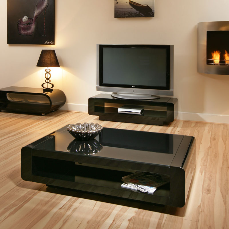 Black Gloss Coffee / Lamp / Side Table Black Glass Top