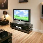 View Item Designer TV/Television Stand/Cabinet Black Gloss Flat Packed 52inch 39