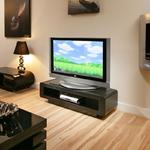 "View Item Designer TV/Television Stand Black Oak & Glass Flat Packed 52"" 673F"