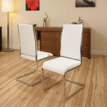 View Item dining chair / chairs set of 2 White Faux leather / Chrome Modern C230