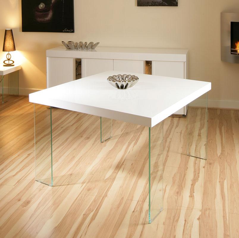 High Gloss Black Glass White Legs Designer Rectangle: Modern Designer Large Square High Gloss White Dining Table