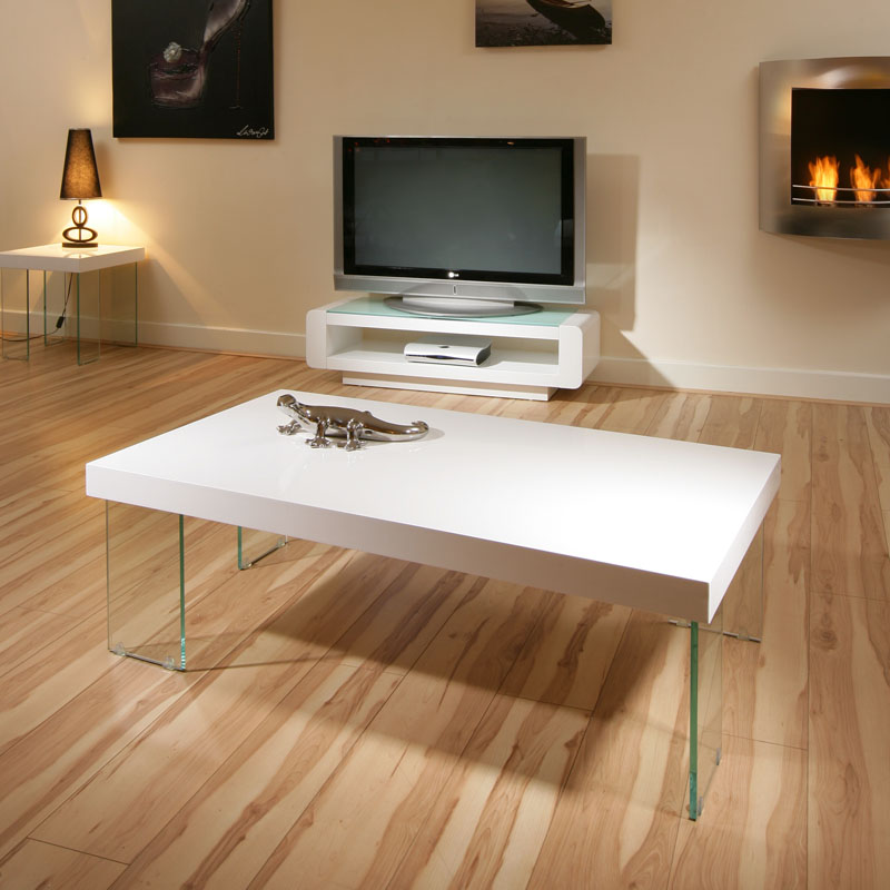 Contemporary Coffee Table In White High Gloss 8738: Modern Designer Rectangular High Gloss White Coffee Table