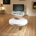 View Item Modern Beautiful Round Gloss White Coffee Table / Tables Glass Legs 00