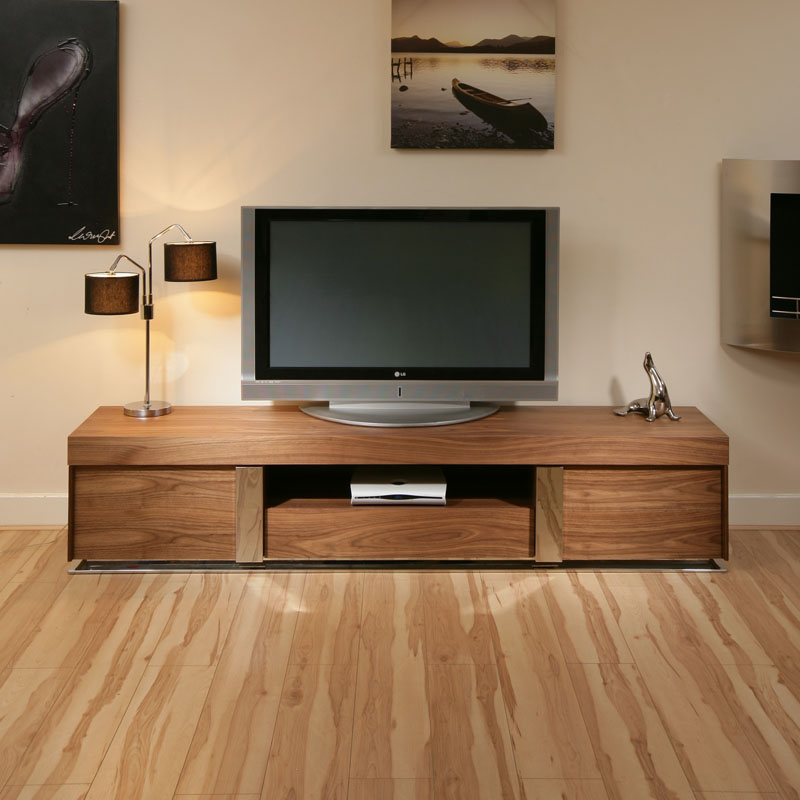 large tv television cabinet entertainment unit center walnut wood 912 ebay. Black Bedroom Furniture Sets. Home Design Ideas