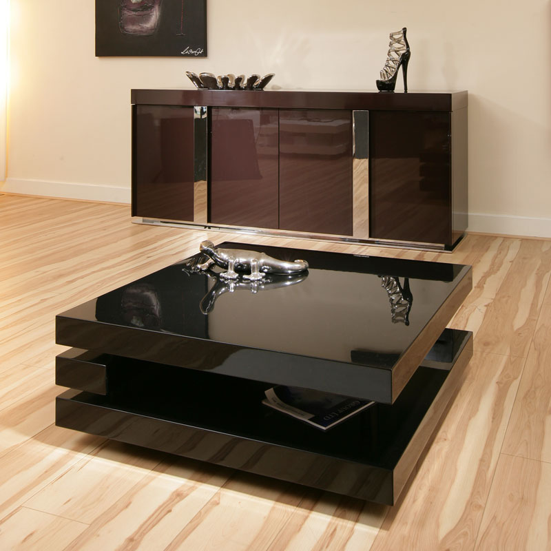 Coffee End Side Lamp Table Square Black Gloss Modern Designer 7e