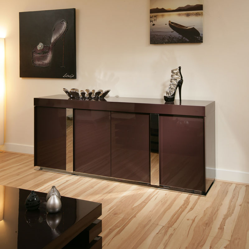 modern plum purple gloss sideboard cabinet buffet 912m ebay. Black Bedroom Furniture Sets. Home Design Ideas