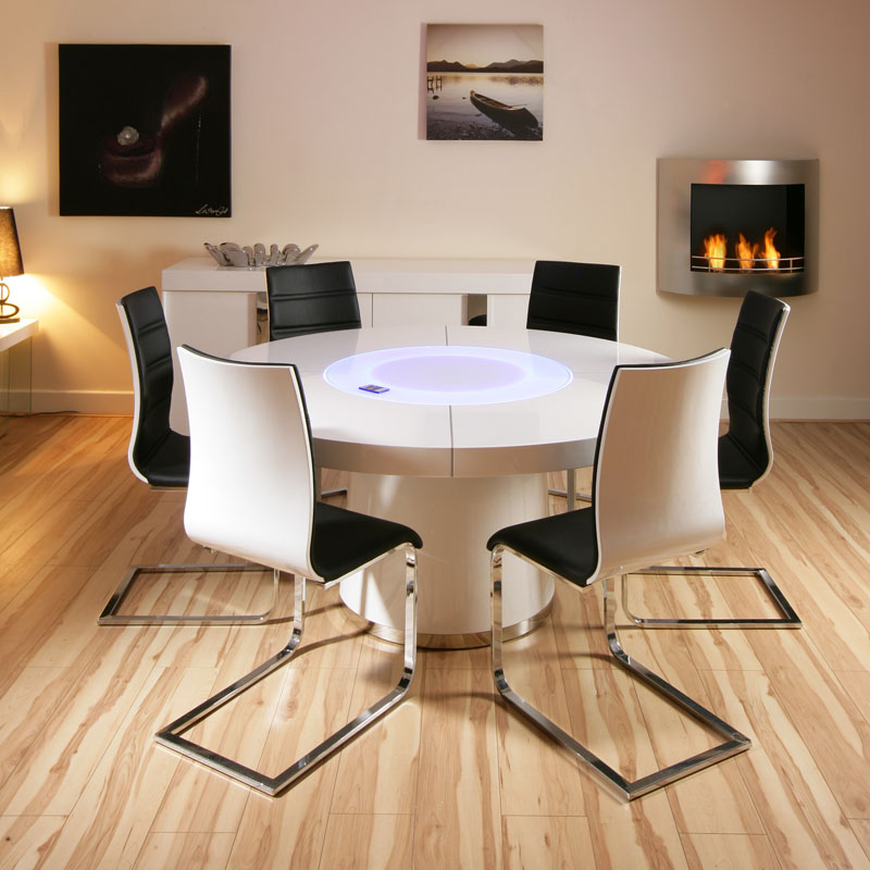 Large round white gloss dining table 6 white black for White dining table and 6 chairs
