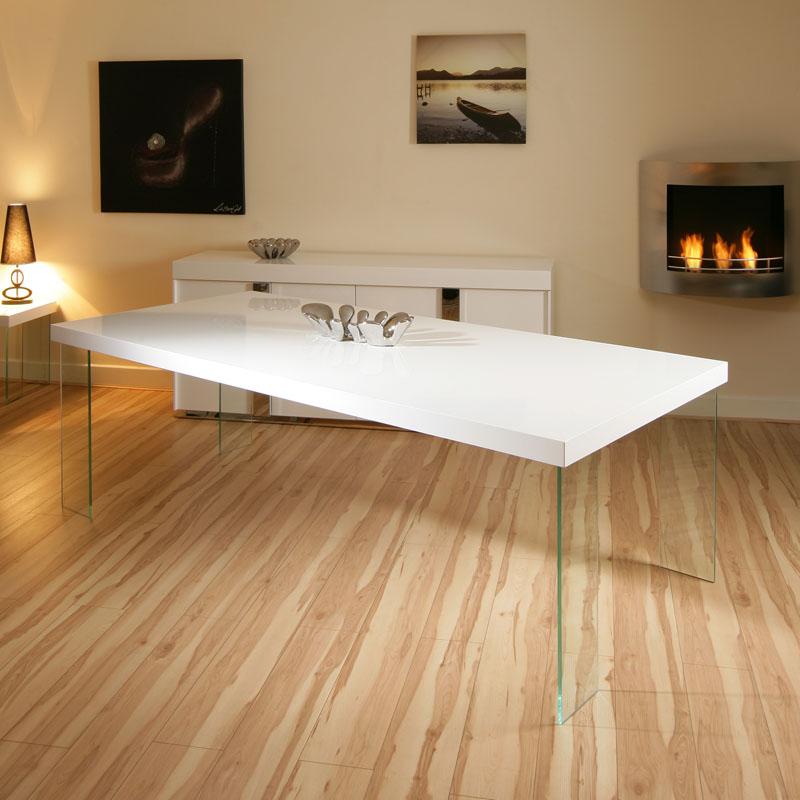 High Gloss Black Glass White Legs Designer Rectangle: Massive Rectangular High Gloss White Dining /Boardroom