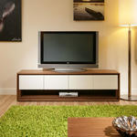 View Item Large TV/Television Stand/Cabinet/Cabinets/Unit Walnut / Off-White 104