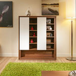 View Item Beautiful Dining Room Tall Sideboard / Buffet Walnut/Off-White Modern