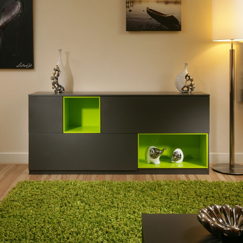 Beautiful Dining Room Sideboard Buffet Grey Lime Green Modern New EBay