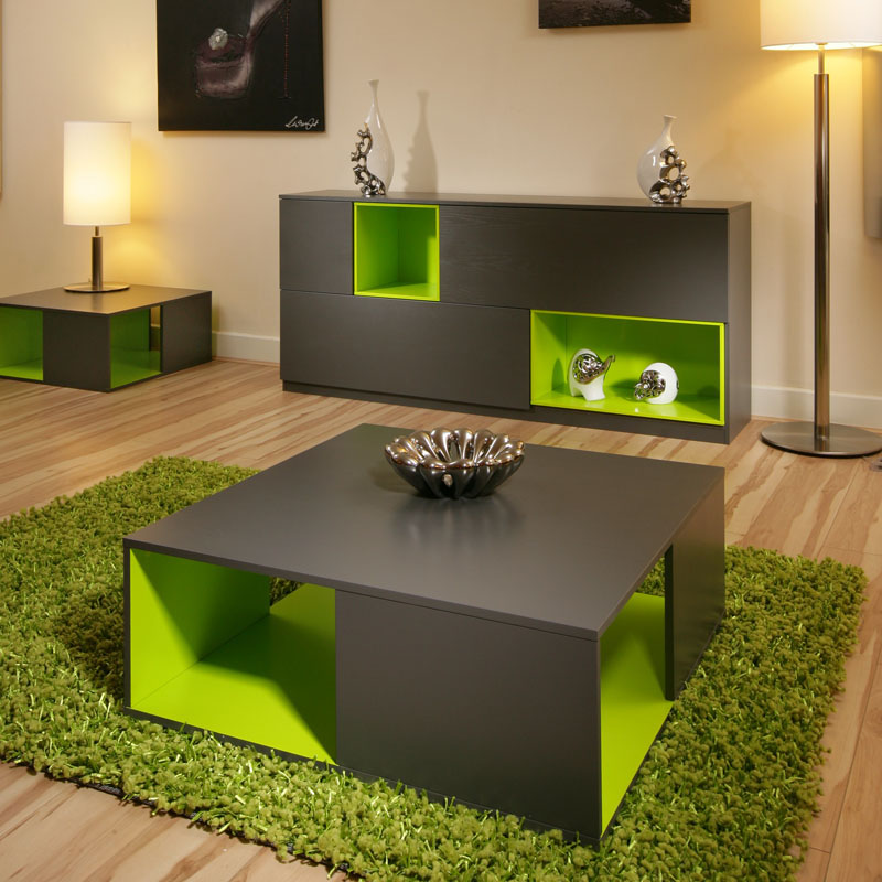 Coffee side table tables black grey ash lime green modern - Green and grey room ideas ...