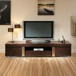 View Item TV Stand / Cabinet / Unit Large 2.2mtr Plum Gloss Stainless Modern 912F