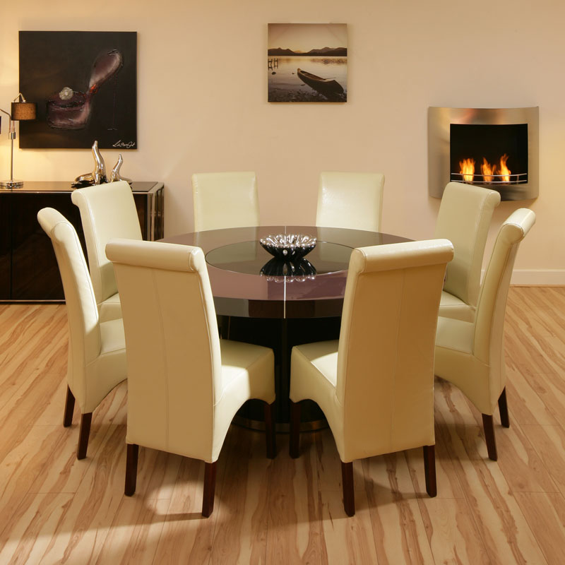 Large Round Plum Gloss Dining Table With 8 Cream Ivory