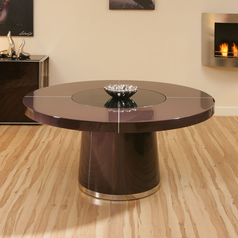 Large round plum gloss dining table glass lazy susan led for Large round dining table