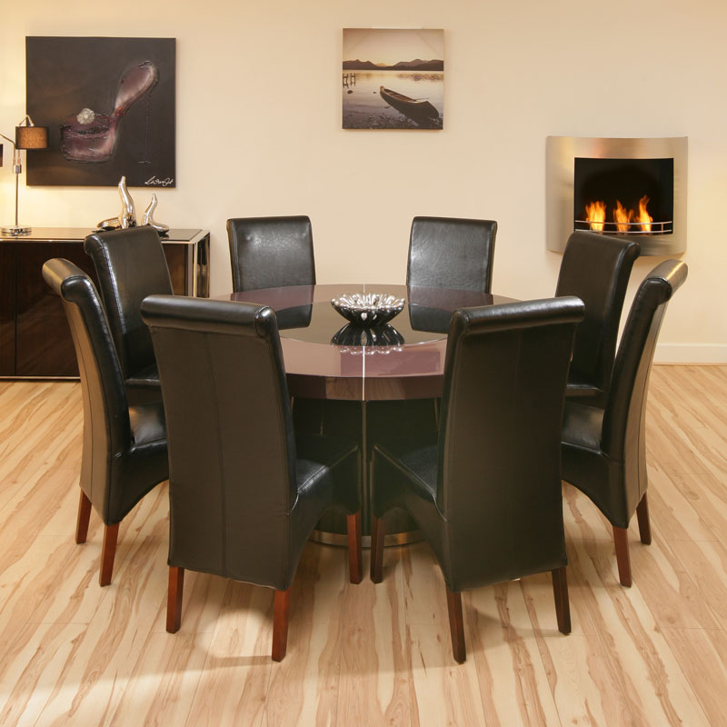 large round plum gloss dining table 8 black high back leather chairs
