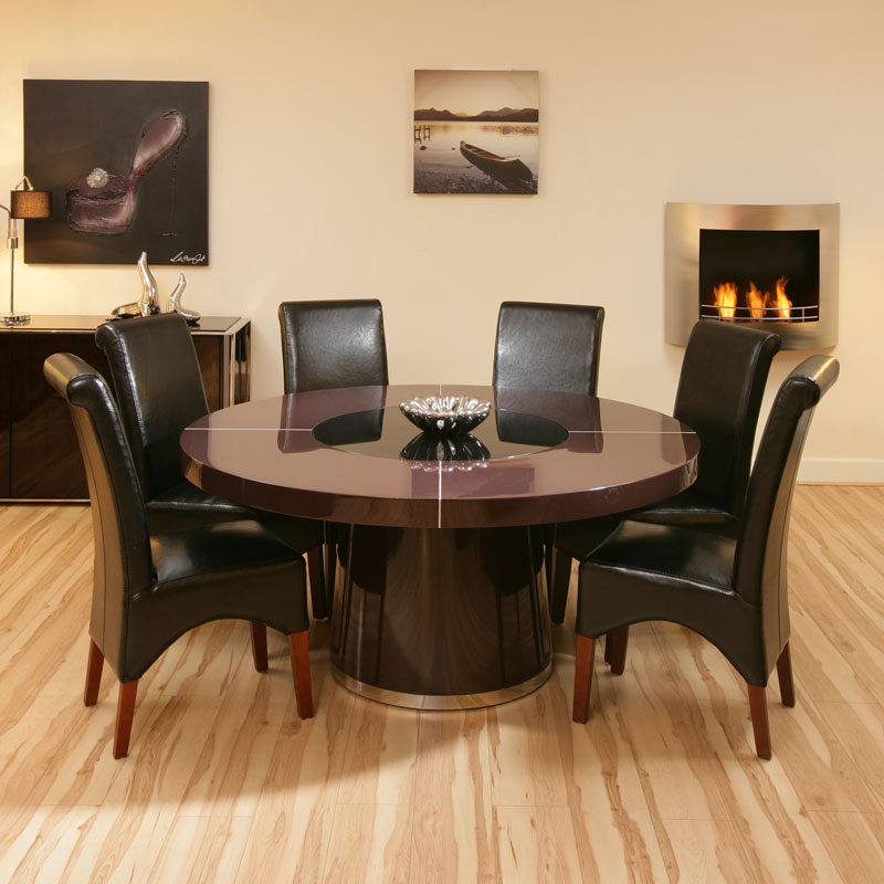 large round plum gloss dining table 6 black high back leather chairs