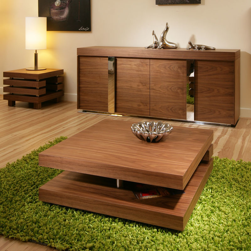 Oregon Coffee Table Walnut: Coffee / End / Side / Lamp Table Square Walnut Modern