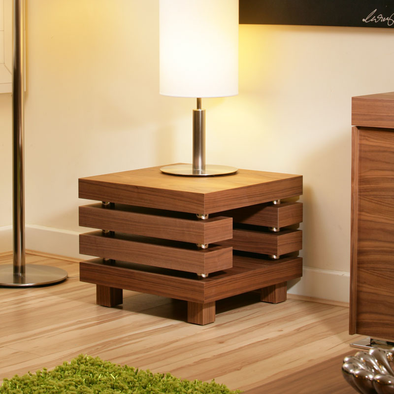 Coffee End Side Lamp Table Square Walnut Modern