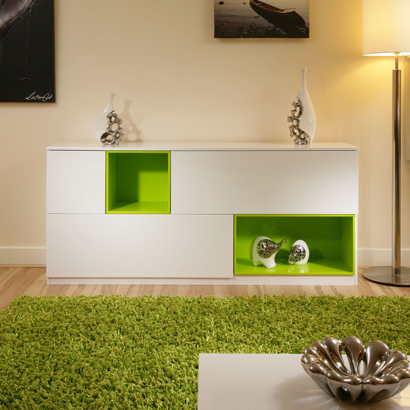beautiful dining room sideboard buffet white gloss lime