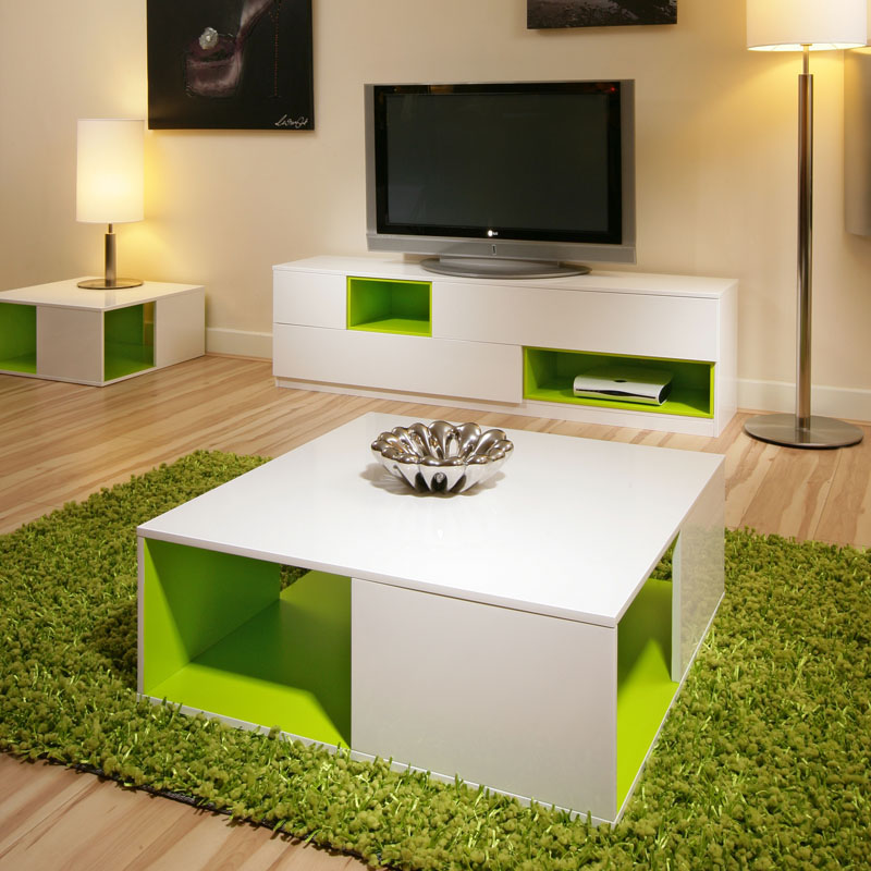 White High Gloss Side End Square 2 Seats Of Coffee Table: Coffee/Side Table/Tables White GLoss/Lime Green Modern New