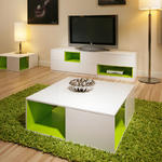 View Item Coffee/Side Table/Tables White GLoss/Lime Green Modern New 202