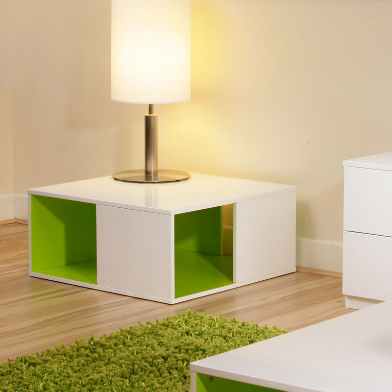 White High Gloss Side End Square 2 Seats Of Coffee Table: Coffee/Side/End/Lamp Table/Tables White Gloss/ Lime Green