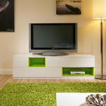 View Item Large TV/Television Stand /Cabinet/Cabinets/Unit White Gloss/Green 202