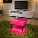 View Item Side/Lamp/End Table/Tables Shocking Pink Modern Glass Legs Square 1106