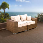 View Item Luxury Outdoor Garden 2 Seater Sofa/Setee Brown Rattan/Cream Cushions