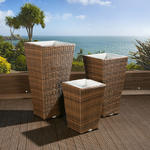 View Item Luxury Outdoor Garden Set of 3 / Three Brown Rattan Planters / Liners