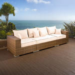 View Item Luxury Outdoor Garden 4 Seater Sofa/Setee Brown Rattan/Cream Cushions