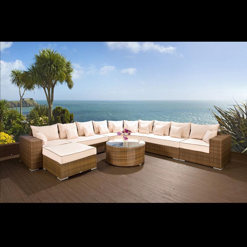 Barcelona Rattan Garden Furniture Corner Sofa Group: Massive Luxury Outdoor Garden 10 Seater Corner Sofa Group