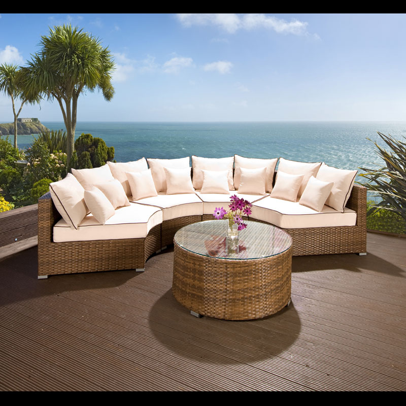 Large Corner Sofas Ebay Uk: Luxury Outdoor Garden Round 6 Seater Corner Sofa Group