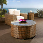 View Item Luxury Outdoor Garden Round Coffee Table Brown Rattan / Glass 1.0m dia